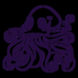 Ilustración de criatura marina kraken sin color