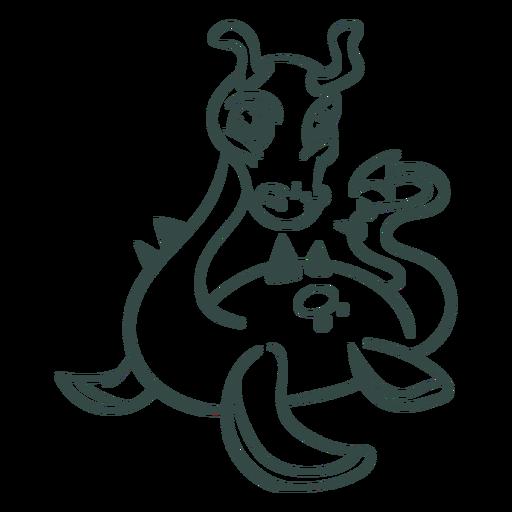 Ilustración de criatura mítica incolora Transparent PNG