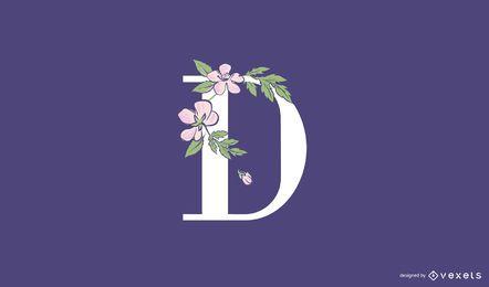 Modelo de logotipo floral com letra d