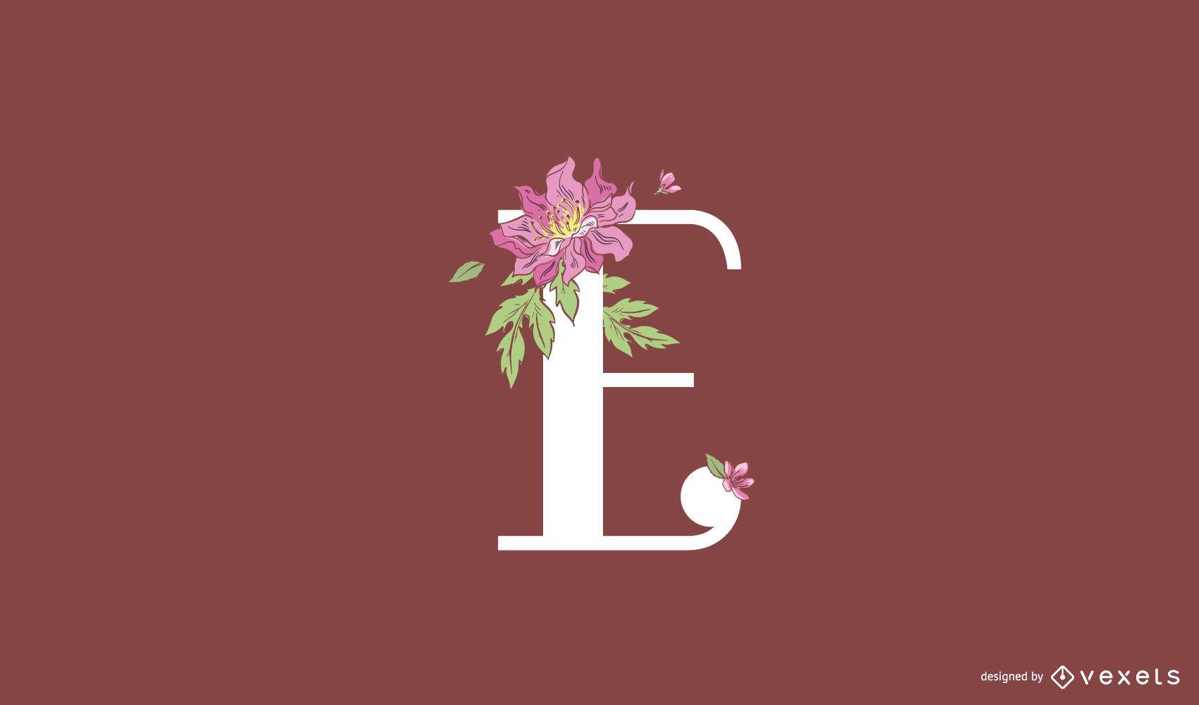 Floral letter e logo template