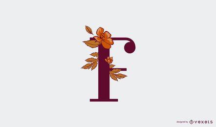Modelo de logotipo floral letra f