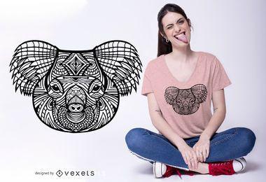 Diseño de camiseta Mandala Koala