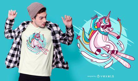 Skifahren-Einhorn-T-Shirt Entwurf