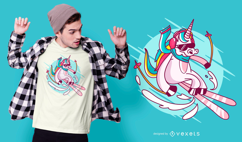 Diseño de camiseta de unicornio de esquí