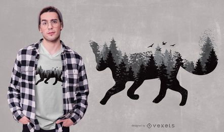 Diseño de camiseta Forest Fox Animal