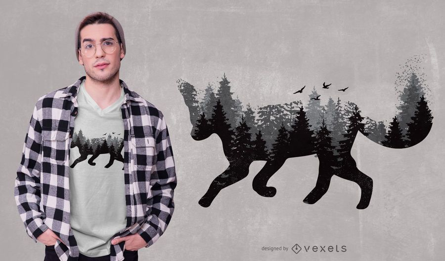 Design animal do t-shirt do Fox da floresta