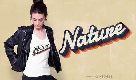 Diseño de camiseta de letras de naturaleza