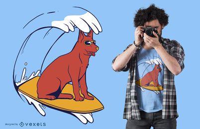Diseño de camiseta de perro surf
