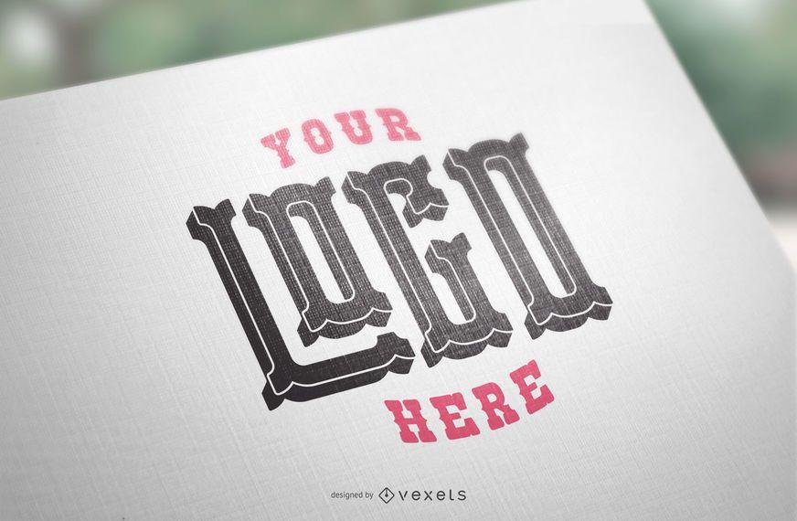 Maqueta de papel con logo