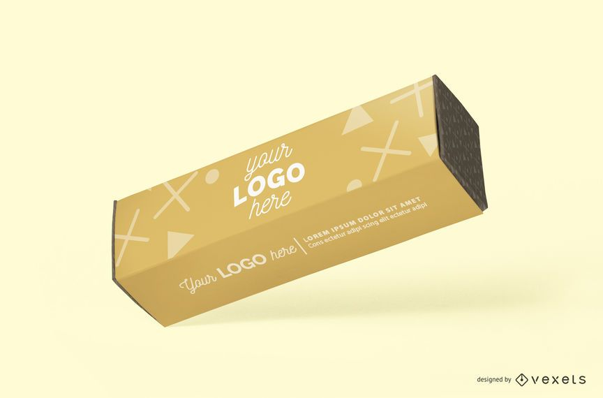 Long cardboard box mockup
