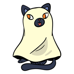 Black cat ghost cartoon