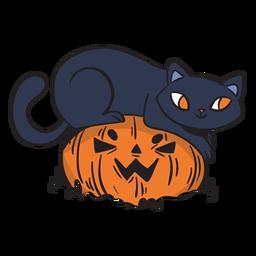 Desenho brincalhão de gato preto