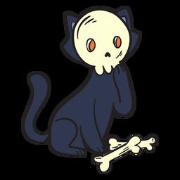 Desenho de caveira de gato preto