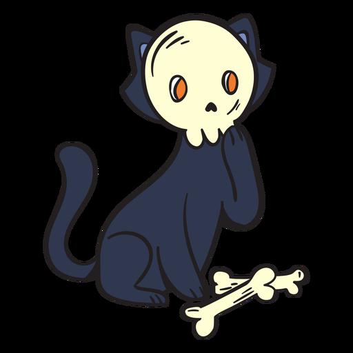 Black cat skull cartoon Transparent PNG