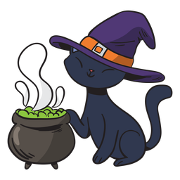 Black cat witch cartoon