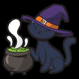 Hexenkarikatur der schwarzen Katze