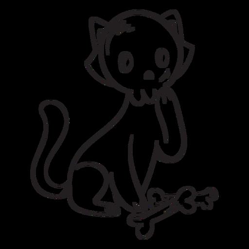 Cat skull cartoon