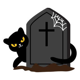 Creepy black cat tombstone cartoon
