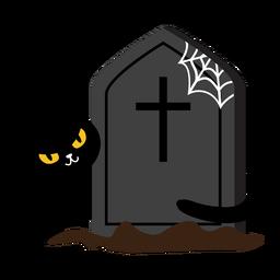 Desenhos animados assustadores da lápide do gato preto