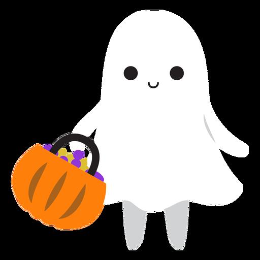 Cute ghost shopping cartoon Transparent PNG