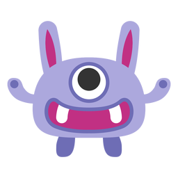 Cute one eyed monster cartoon