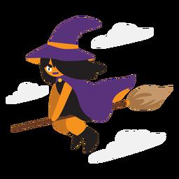 Desenho de bruxa voadora