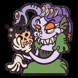 Medusa, cobras, caricatura