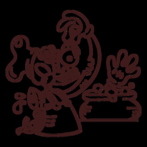 Bosquejo del chef zombie Transparent PNG