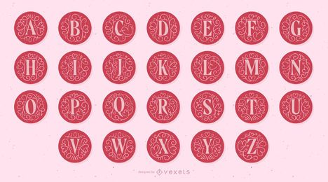 Alfabeto de letra de monograma de dia dos namorados
