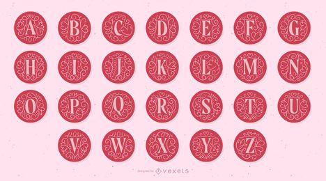 Alfabeto de letras de monograma de San Valentín