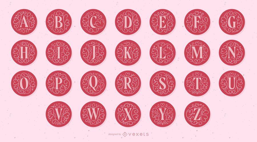 Alfabeto de letras do monograma do dia dos namorados