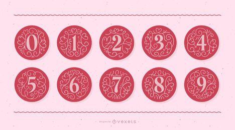 Conjunto de números do monograma do dia dos namorados