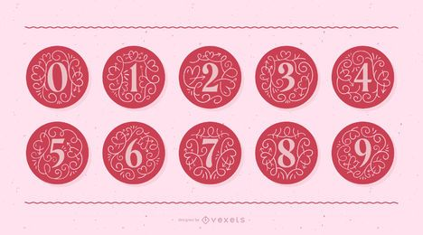 Valentine's Day Monogram Number Set