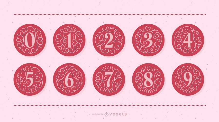 Valentine's Day Monogram Number Set
