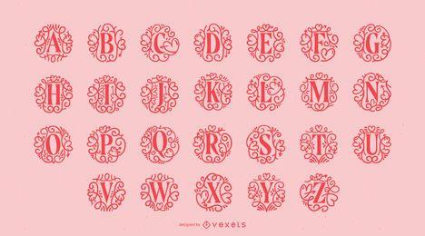 Pacote de alfabeto ornamental do dia de Valetine