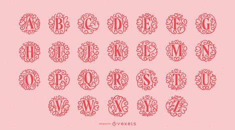 Valetine's Day Ornamental Alphabet Pack