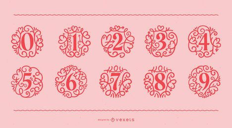 Conjunto de números ornamentales de San Valentín