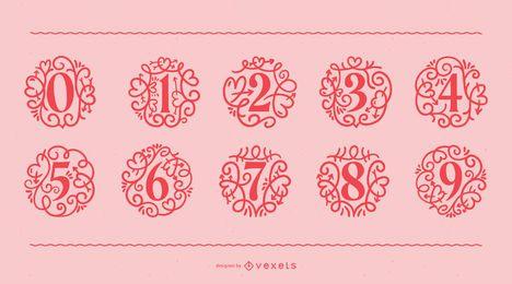 Conjunto de números ornamentales del día de San Valentín