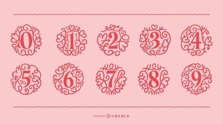 Conjunto de números ornamentais do dia dos namorados