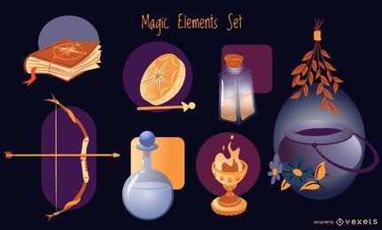 Conjunto de ilustração de elementos mágicos