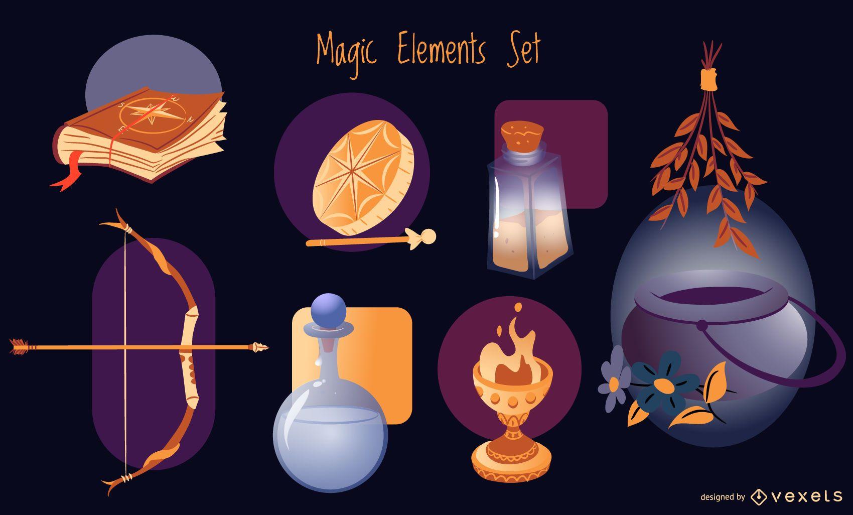 Magic elements illustration set