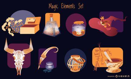 Pacote de ilustração de elementos mágicos