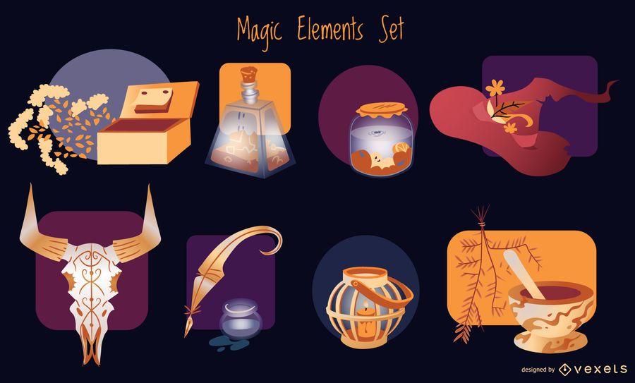 Paquete de ilustración de elementos mágicos