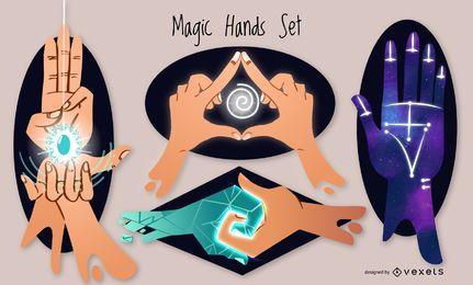 Conjunto de ilustração de mãos mágicas