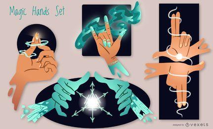 Ilustrações de mãos mágicas