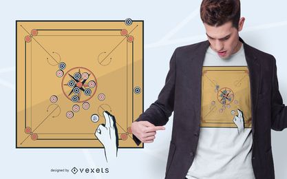 Carrom Game Design de camiseta