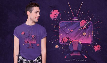 Design de camiseta de TV espacial