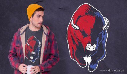 Diseño de camiseta rojo azul bisonte