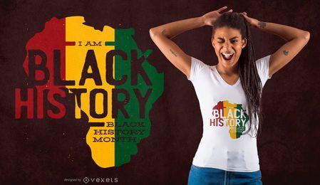 Projeto preto do t-shirt do mês da história