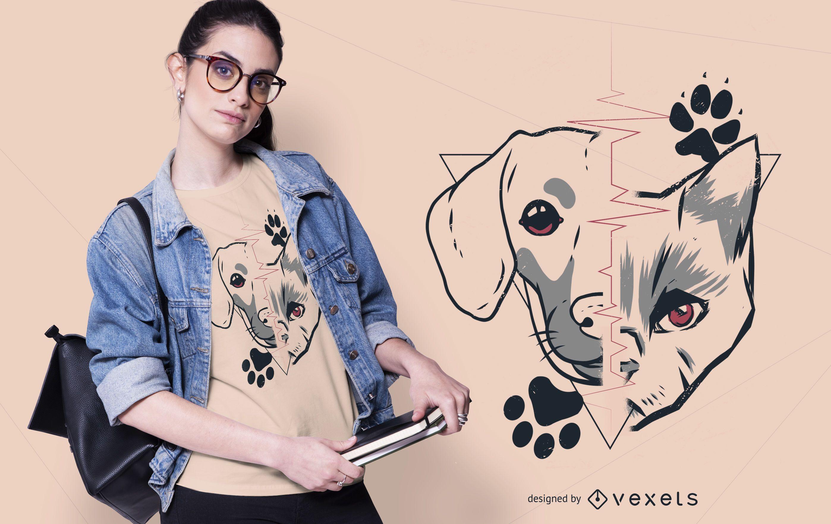 Diseño de camiseta de perro y gato
